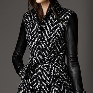 Burberry Jackets & Coats - Burberry Tweed Leather Sleeves Trench Coat